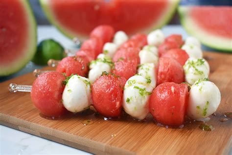 fresh mozzarella watermelon skewers with honey lime drizzle modern honey
