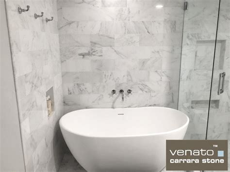 carrara marble 6x12 quot marble subway tile traditional