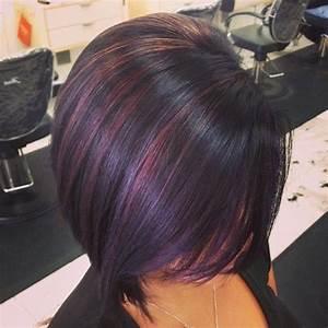Dark brown hairstyles with plum highlights