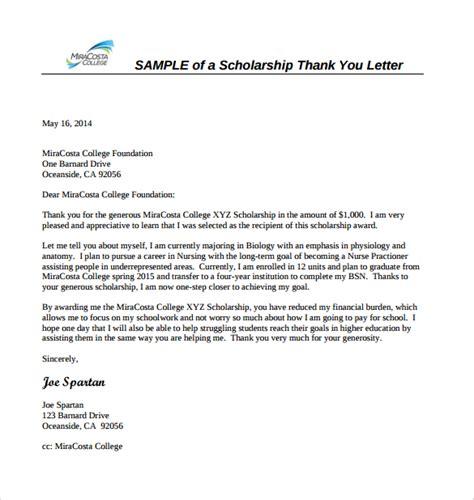 letter for scholarship 12 sle scholarship thank you letters doc pdf
