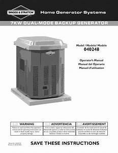 Briggs  U0026 Stratton 040248 User Manual Backup Generator