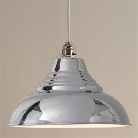 vintage metal shiny polished chrome pendant light shade