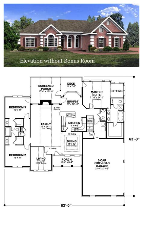 Ranch Style House Plan Number 92463 with 3 Bed 3 Bath 3