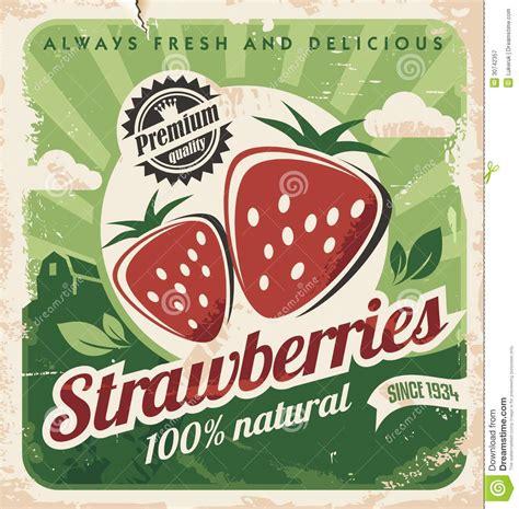 affiche cuisine retro calibre d 39 affiche de vintage pour la ferme de fraise