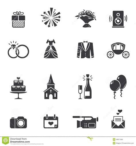 black wedding icons stock vector image