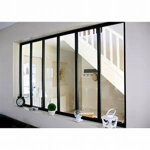 verriere atelier en kit aluminium noirvitrage non fourni With porte d entrée alu avec carrelage mural salle de bain noir brillant