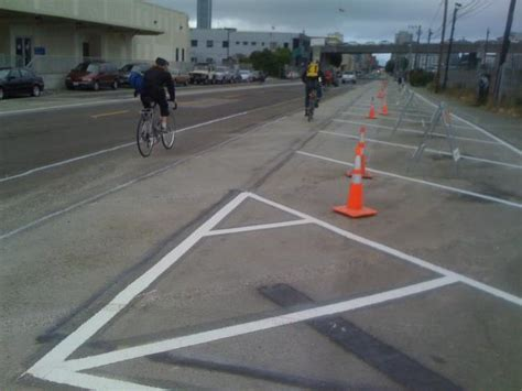townsend street bicycle lane  parking striping finishes