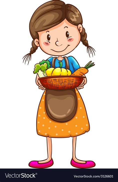 simple drawing   farm girl royalty  vector image