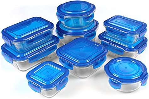 glass kitchen storage containers glass food storage container set blue 18 pcs set 9 3800