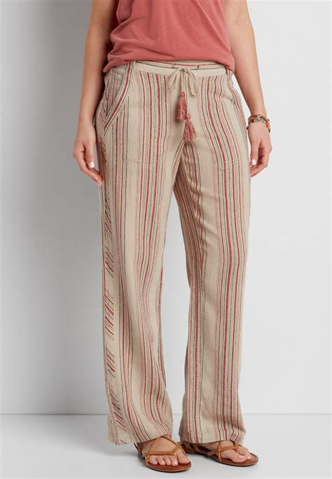 If you use a different payment method, you will receive 1 point for every $2 spent on a qualifying purchase up to the point maximum. linen wide leg pant with stripes | maurices
