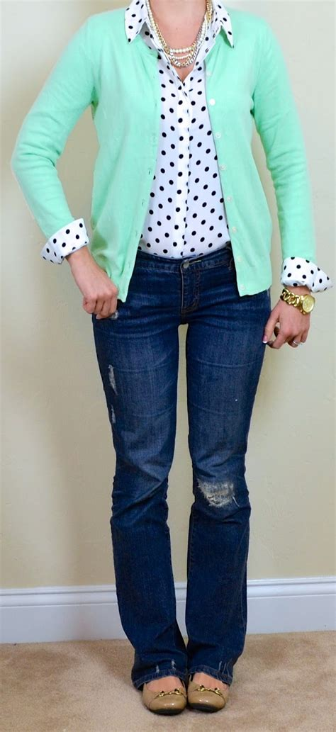 Outfit Posts outfit post mint cardigan polka dot blouse bootcut jeans