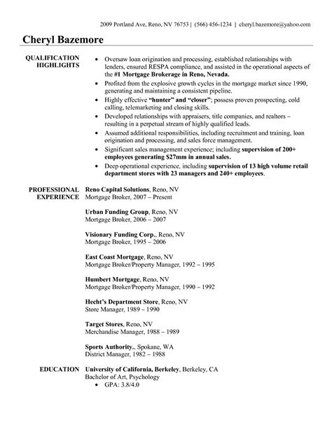 mortgage broker resume exle resumes design