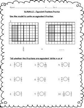 go math practice 4th grade chapter 6 fraction equivalence and comparison