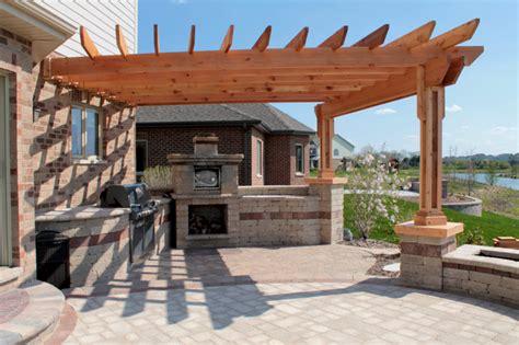 concrete pergola custom pergola w cast concrete caps added to existing patio traditional patio chicago