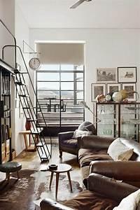 mille et une idees pour le salon style industriel en 44 With canape cuir marron style industriel