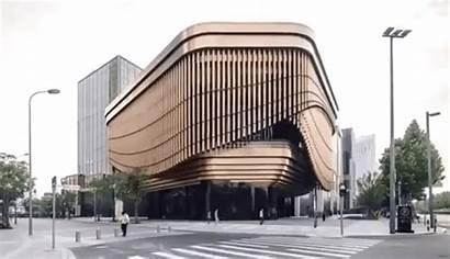 Facade Wall Curtain Center Cultural Behind Rotates