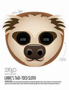Sloth mask zoo new england for Sloth mask template