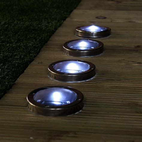 stainless steel solar deck lights white leds 4 pack