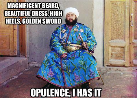 Magnificent Beard, Beautiful Dress, High Heels, Golden