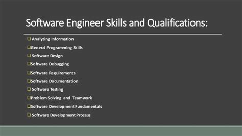 skills and qualifications software engineer job responsibilities