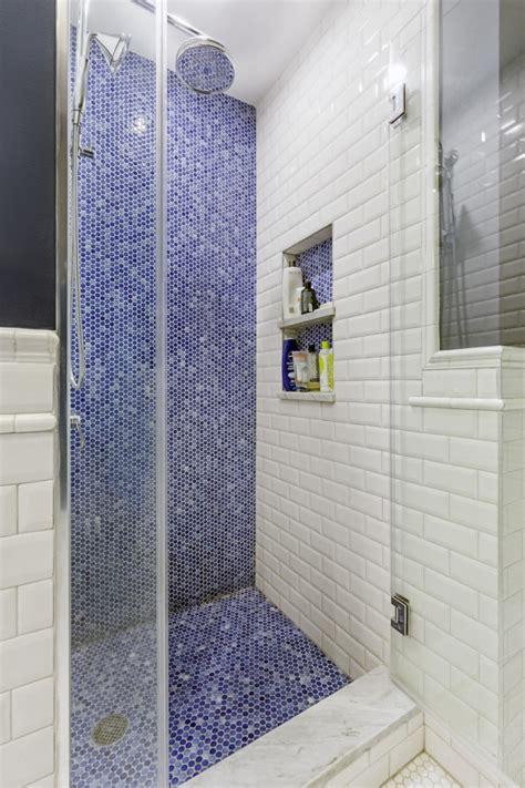 penny tile takes  bath  beige  blue beauty