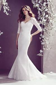 Bride dresses lace v neck sweep train sashes mermaid for No lace wedding dress