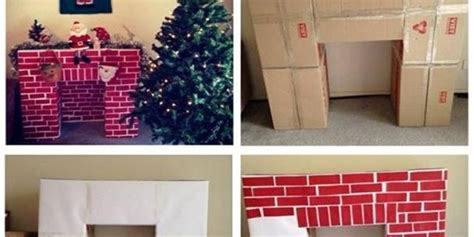 Make a Christmas Fireplace from Cardboard   www