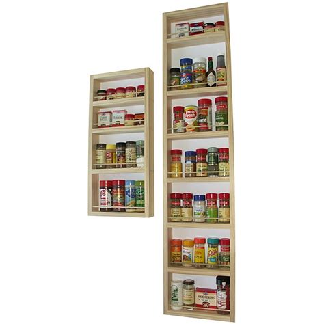 Wooden Spice Rack For Pantry Door by Easy To Mount Solid Pine Wood Wall And Door Spice Racks