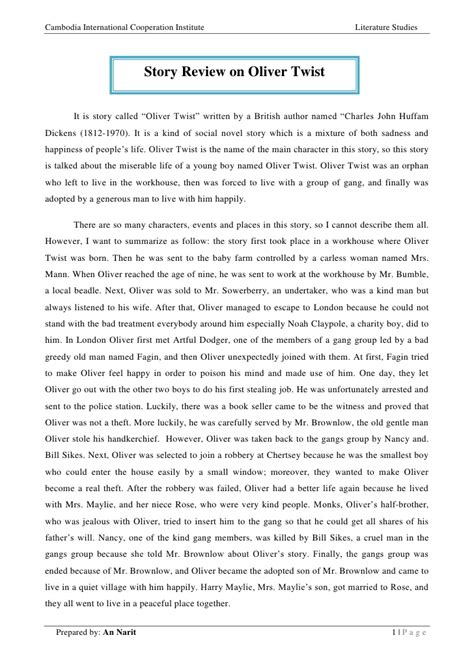 Oliver Twist Resume Francais by Story Review On Oliver Twist