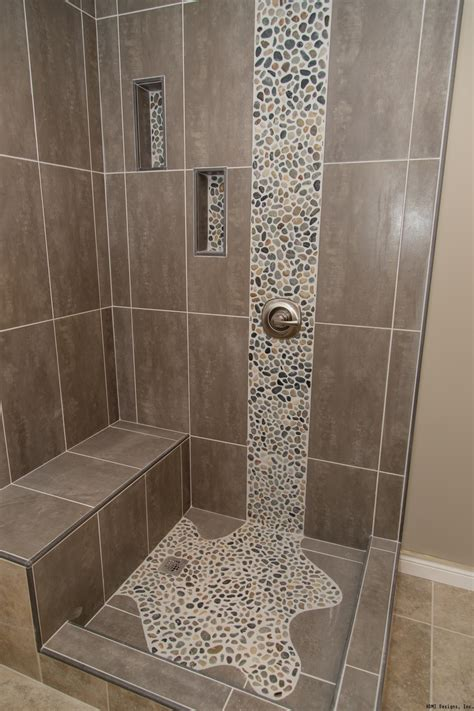 bathroom tile ideas pictures spruce up your shower by adding pebble tile accents click