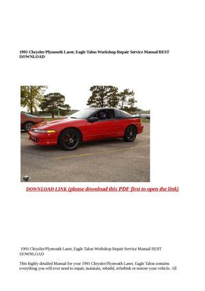 how to download repair manuals 1991 eagle talon electronic toll collection calam 233 o 1991 chrysler plymouth laser eagle talon workshop repair service m