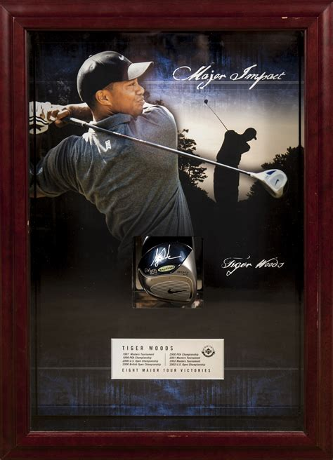lot detail tiger woods driver signed   shadow box