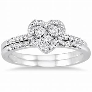 sparkling heart ring halo wedding set ring 1 carat round With heart diamond wedding ring set