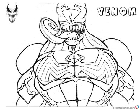 venom coloring pages lineart   printable