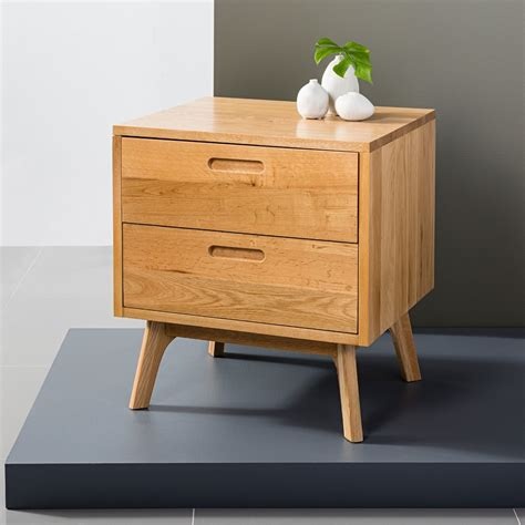 Bedside Tables by Maximus 2 Drawer Bedside Table Oak 45x55x60cm Angled