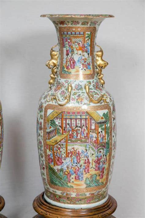 Large Wood Floor Vase by Pair Of Large 19th Century Cantonese Floor Vases