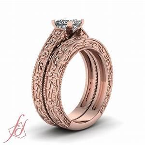 solitaire vintage milgrain wedding rings set 1 2 carat With 2 carat wedding ring sets