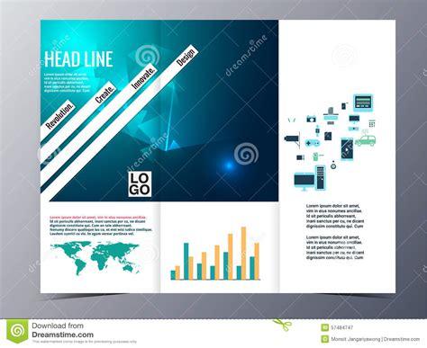 Simplicity Tri Fold Brochure Template Design Stock Vector Abstract Blue Geometric Pattern Brochure Design Template