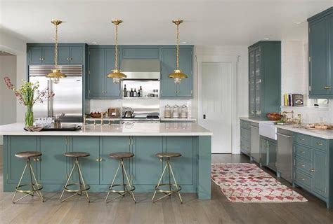 farrow and green blue kitchen green kitchen cabinets with brass hardware and lights 9664