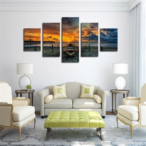 panel seascape  boat  hd large print canvas