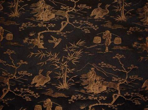 Drapery Upholstery Fabric Jacquard Oriental Toile Black