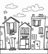 Coloring Neighborhood Pages Town Houses Drawing Colouring Drawings Barber Buildings Adult Neighborhoods Worksheets Draw Sketch Books Doodle Easy Kindergarten Quilts sketch template