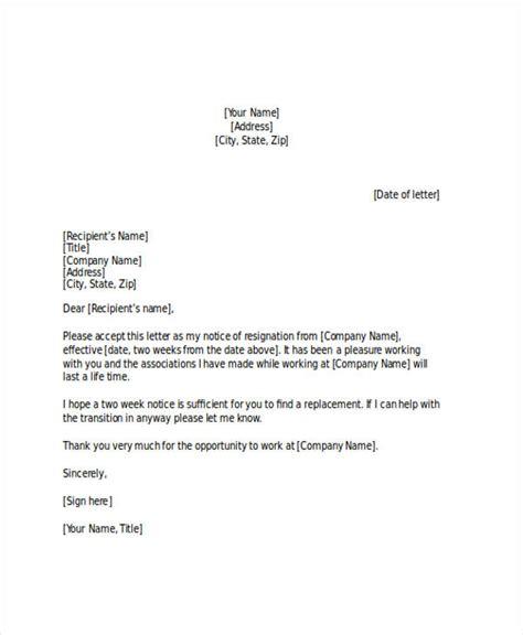 two weeks notice letter 22 two weeks notice letter exles sles doc pdf
