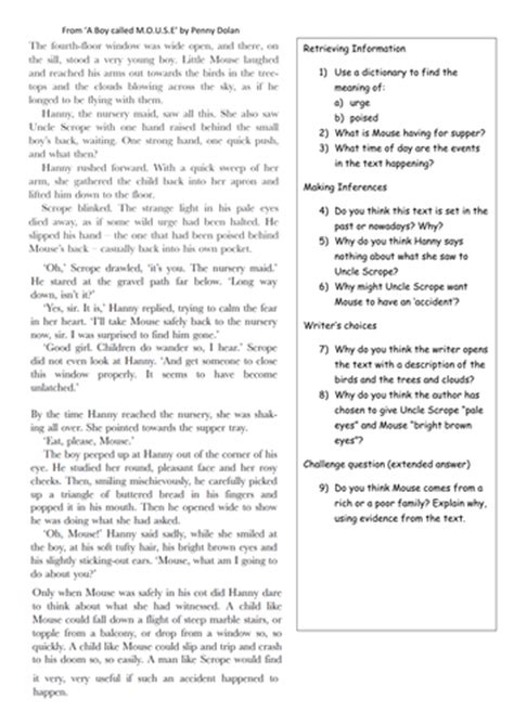 reading comprehension year 5 year 6 by klbgreen teaching
