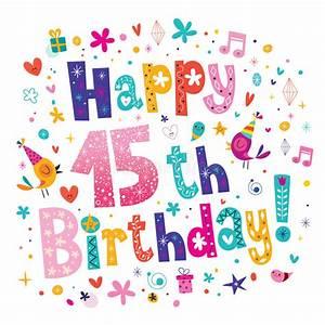 Happy 15th Birthday Greeting Card Stock Vector