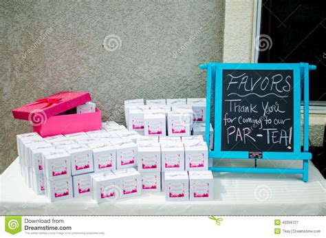 Baby Shower Party Favors D On Table Stock Photo   Image: 40356727