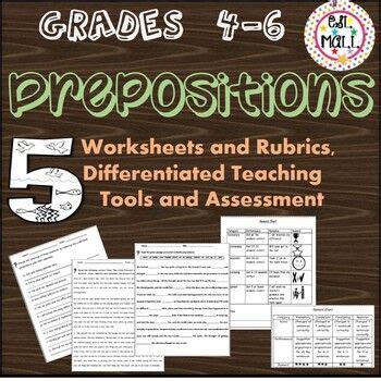 prepositions worksheets parts  speech  images