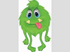 Hübsch haarig grüne Monstercartoon Vektorgrafik Colourbox