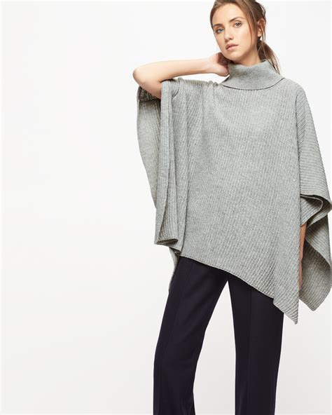 roll neck knitted poncho jigsaw