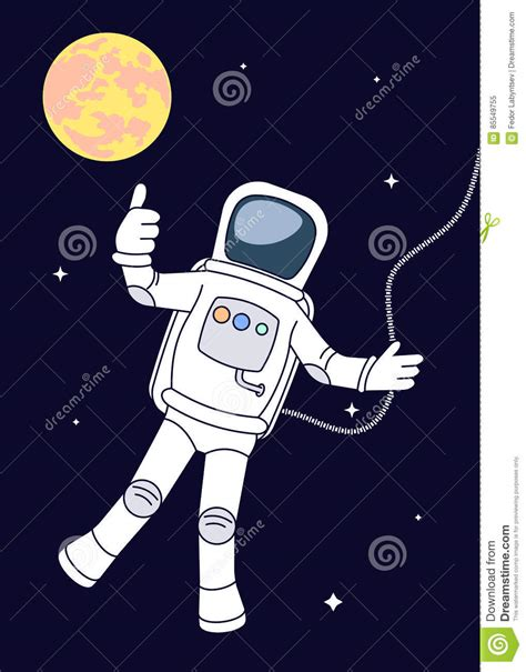 astronaut in space drawing drawing the astronaut in an outer space stock vector